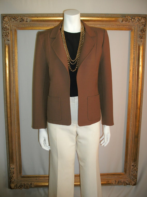 Vintage 1970's Andre Laug Brown Wool Jacket - Size 8