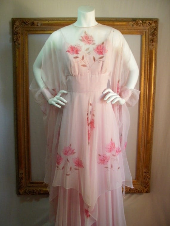 Vintage Late 1970's Rose Taft for Couture Creations Pink Chiffon Evening Gown - Size 8