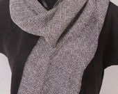 Handwoven Men's Black and White Wool Scarf