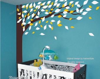children wall decal nursery wall decal kids decal baby wall decal boy  - Tree Corner Wall Decal
