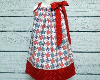 4th of July Pillowcase Dress Girls Pinwheels Red Stars Patriotic Size 6-12 month, 12-18 month, 2 / 3, 4 / 5, 6 / 7, 8 / 9