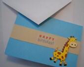 Little Boy Birthday Card, Happy Birthday card, Boy Birthday card, Zoo birthday card, Blank inside, Giraffe Birthday card