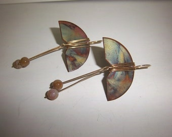 Vintage Copper Earrings Wrapped w/ Stone Dangles Handmade Green & Brown and Gold Earthtones