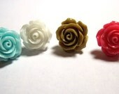 "1 Rose Stud Pierced Earring to Match my ""Roses are ..."" Conch Cuffs Wedding Prom Bridal 1 earring - Not a pair"