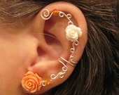 "1 Non Pierced Cartilage Ear Cuff  ""Roses are Awesome"" Conch Cuff Silver tone"