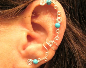 """Non Pierced Cartilage Ear Cuff """"Swirls and Stones"""" Color Choices"""