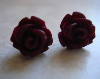 Maroon Plum Rose Cabochon Polymer Clay Post Earrings Set On Quality  Sterling Silver Post Size 9-10mm