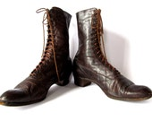 Antique Edwardian Lace Up Leather Boots in Beautiful Sepia Brown. Modern Size 7