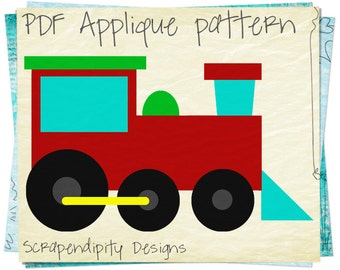 Train Applique Template - Transportation Applique Patterns / Boutique Train Shirt / Toddler Clothing / Baby Train Quilt Pattern AP228-D