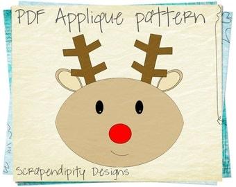 Reindeer Applique Template - Christmas Applique Pattern / Rudolph Quilt Pattern / DIY Holiday Clothing Kids Shirt / Iron on Design AP143-D