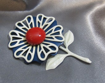 1950's Enameled Flower Brooch