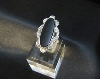 Victorian Styled Onyx and Rhinestone Sterling Ring