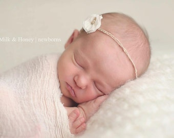 the Angelic : Newborn Headband  - Pure White - Newborn Photo Prop -  halo,  flower headband
