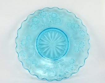 Pretty Ice Blue Clear Floral Glass Plate