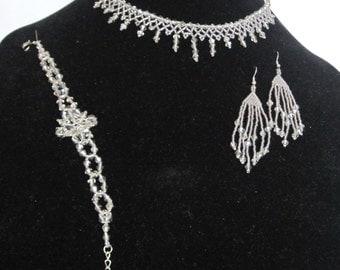 Smoked crystal wedding set - Bridal necklace, bracelet and earrings set