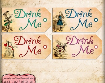 Drink Me Tag, Alice in Wonderland Tags, labels, perfect for parties, presents and invitations, INSTANT DOWNLOAD