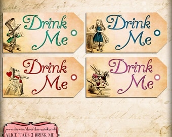 Drink me tags etsy drink me tag alice in wonderland tags labels perfect for parties presents pronofoot35fo Gallery