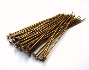 50 headpins, 50mm, bronze