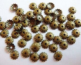 50 bead caps, mini, bronze