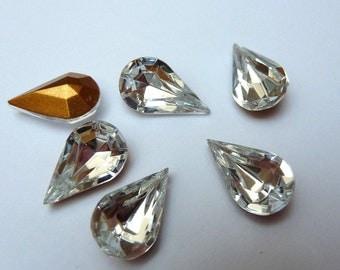 6 glass jewels, 13x8mm, Crystal, drop