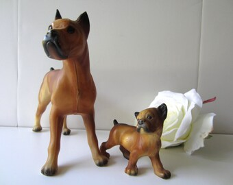 Adorable Hard Plastic Boxer Dogs