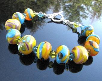 Colorful Lampwork, Lampwork  Bead, Bracelet, Artisan Jewelry,Wearable Art ,SRA /SRAJD