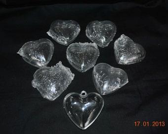 8 Small Clear Plastic Hearts
