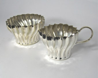 Vintage Cream and Sugar with Fluted Swirl Design