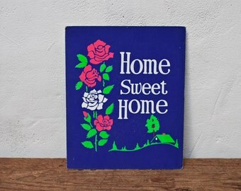 Home Sweet Home Sign - Purple - Vintage Sign Bright Colors Welcome Sign Paper