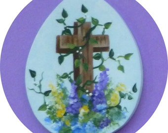 Cross Vine Flowers Easter Pin/Magnet Hand Painted Wood