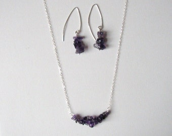 Set of the Irregula Amethyst stone necklace and earring in sterling silver, hand made earwire, simply amethyst, gift