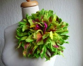 felted flower corsage pin brooch, handmade, felted wool flower, silk,lagenlook, handmade, shawl pin, chartreuse,lime green, large, huge