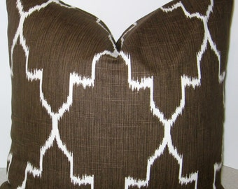 BOTH SIDES 20 x 20 brown ikat Lacefield Monaco pillow cover tile geometric chocolate