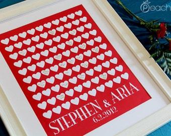 Guest Book Alternative - The Lovewik - A Peachwik Personalized Art Print - 100 guest sign in - Classic Hearts Wedding Guestbook