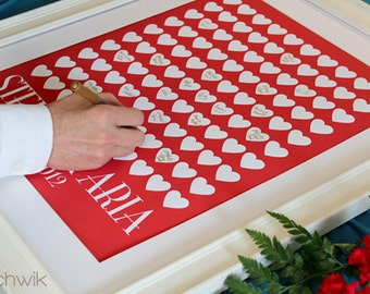 Wedding Guest Book Alternative - The Lovewik - A Peachwik Personalized Art Print - 100 guest sign in - Classic Hearts Wedding Guestbook