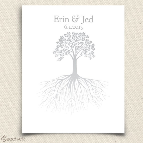 Wedding Guest Book Alternative - The Rootwik - A Peachwik Interactive Art Print - 50 to 100 guest sign in - Family Wedding Tree