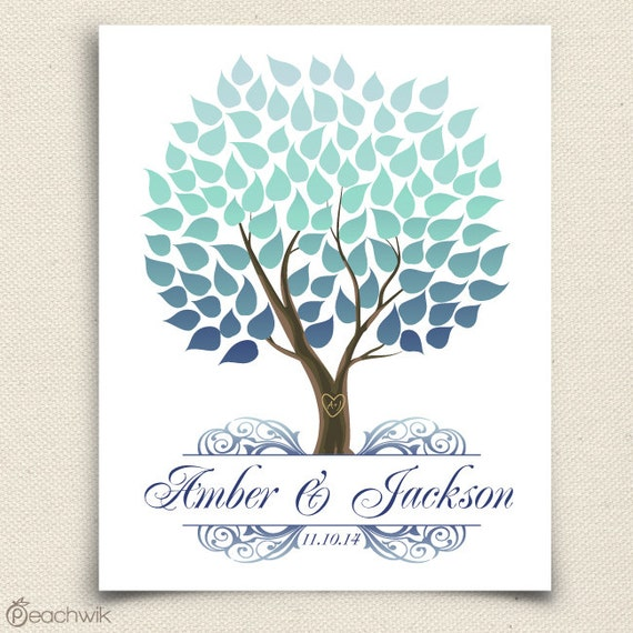 Wedding Guest Book Alternative - The Seaswik - A Peachwik Interactive Art Print - 100 guest sign in - Winter Wedding Tree