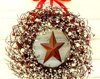 4th of July Wreath-July 4th Home Decor-Summer Wreath-Red and White Wreath-Patriotic Door Wreath-Holiday Wreath-Winter Wreath-Door Wreaths