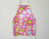 Girls Pvc Apron - Pink with Large Flowers, Oilcloth Apron, Waterproof Apron, Toddler Apron, Childs Apron