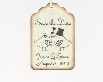 100 Custom Personalized  SAVE the DATE tags-Wedding Favors-Elegant Wedding Tags