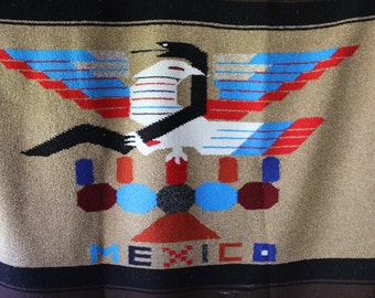 Vintage Mexico Eagle and Snake Blanket // Throw // Afghan - Mexican
