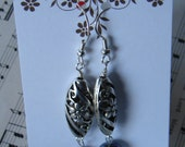 Blue Black Freshwater Pearl Dangle Earrings Silver Floral Flower Cut out Design Fresh Flashy