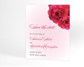 Spring Wedding, Summer Wedding Save the Date Cards with Roses In Your Choice of Color, Rose Bouquet, Floral Wedding Announcements