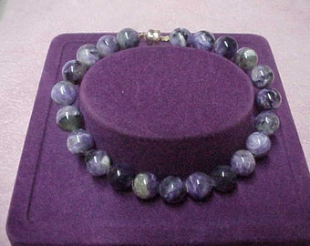 Vintage Russian Charoite Beads Bracelet, 8mm, 7.5 inch Long, with 14K Goldfilled Magnet Closure