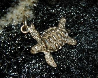 Swimming Sea Turtle charm or pendant in silver