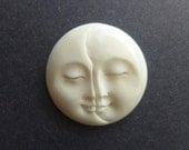 Double Moon Face Cabochon - Hand Carved Bone - Balinese - Lunar Eclipse