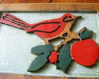 Vintage Painted Woodcut Bird on Branch Folk Art