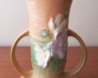 Roseville Pottery Cosmos Vase 947-6 Tan Color Notched Rim Pottery 1940's