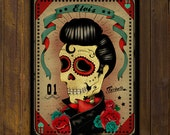 Sale ! Elvis Presley Skull - Calaca Sugar Skull Day of the Dead -  PRINT of original illustration by Ganbatte
