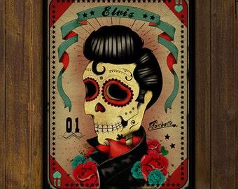 Sale ! Elvis Presley Skull - Calaca Sugar Skull Day of the Dead -  PRINT of original illustration by Ganbatte